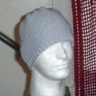 Hand Knit Mens Seed Stitched Beanie in Light Grey Gray
