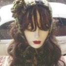 Hand Knit Ladies Camoflauge Coif & Buttoned Neckwarmer Camo Cowl Singer Standup