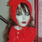 Hand Knit Ladies Red Coif & Buttoned Neckwarmer Cowl Set Ribbed Standup Singer