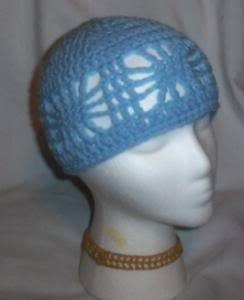 Hand Crochet Ladies Open Cloche Hat Light Blue Chemo Web Summer Beach Cruise