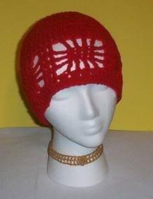 Hand Crochet ~ Ladies Open Cloche Hat - Red Chemo Web Beanie Summer Beach Cruise