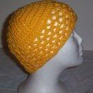 Hand Crochet ~ Ladies Skull Cap ~ Lacy Yellow Style 2 Kufi Chemo Summer Mesh