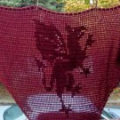 Hand Crochet Witchy Triangle Dragon Shawl - Autumn Red
