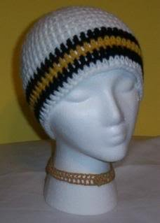 Hand Crochet ~ Steelers Beanie Black N Gold Unisex Chemo Pittsburgh Pirates