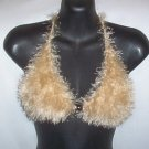 Hand Knit Bikini Top Halter Med/Lrg Chanpange Fur Yarn Wedding Beach Vacation