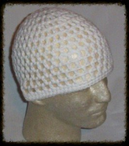 Hand Crochet - Men's Summer Mesh Hat - White - Made 2 Order - FREE US Shipping