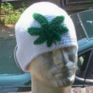 Hand Crochet Men's Skull Cap Beanie Hat Rasta - Pot Head Weed Leaf