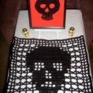 Hand Crochet Skull Table Setting Set - Ready to Ship - Sugar Skull - Day of the