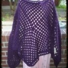 Hand Crochet Purple Athena Poncho - One Size Boho Chic Made 2 Order
