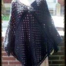 Hand Crochet Black Athena Poncho - One Size Boho Chic Made 2 Order