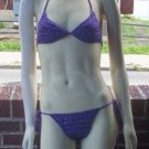 Hand Crochet Bikini C Cup Large Purple Bling Beach Vacation Cruise Spa Poolside