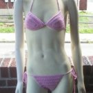 Hand Crochet Bikini B/C Cup Medium Pink Bling Beach Vacation Cruise Spa Poolside