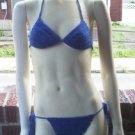 Hand Crochet Bikini C Cup Large Royal Blue Beach Vacation Cruise Spa Poolside