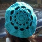 Hand Crochet Oversized Beret Rasta Snood Tam - Turquoise - Flower Motif