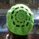 Hand Crochet Oversized Beret Rasta Snood Tam - Lime - Flower Motif