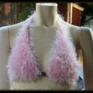 Hand Knit Bikini Top Halter Sexy Med/Lrg Pink Fur Yarn Wedding Beach Vacation