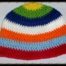 Hand Crochet - Mens Skull Cap Beanie Hat Skater Emo Goth Rainbow Stripes