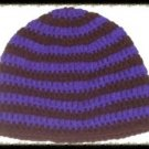 Hand Crochet - Mens Skull Cap Beanie Hat Skater Emo Goth Brown Purple Stripe