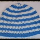 Hand Crochet - Mens Skull Cap Beanie Hat Skater Emo Goth White / Blue Stripe