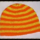 Hand Crochet - Mens Skull Cap Beanie Hat Skater Emo Goth Yellow/Orange Stripe
