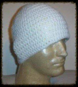 Hand Crochet - Mens Skull Cap Beanie Hat Skater Emo Goth - White Elekes Santeria BOGO