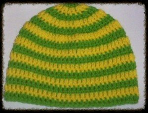 Hand Crochet - Mens Skull Cap Beanie Hat Skater Emo Goth Yellow/Lime Stripe