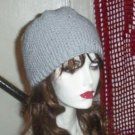 Hand Knit Ladies Seed Stitched Beanie in Light Grey Gray