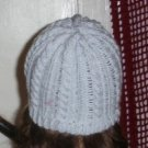 Hand Knit Ladies Cabled Beanie in Light Grey Gray