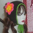 Hand Knit Flowered Coif Ponytail Hat- Gothic Pink Black Convertible Ear warmer