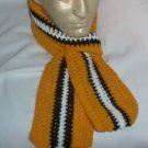 Hand Crochet ~ Steelers Scarf Black N Gold 5 X  58 long Unisex Pittsburgh