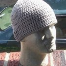 Hand Crochet Mens Cotton Skull Beanie Light Gray Grey