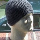 Hand Crochet Mens Cotton Skull Beanie Dark Gray Grey