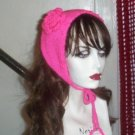 Hand Knit Flowered Coif Ponytail Hat- Hot Pink Convertible Ear warmer