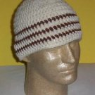 Hand Crochet ~ Men's Skull Cap Beanie Hat Ivory Brown Stripes Chemo Unisex