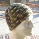 Hand Crochet ~ Mens Short Beanie New Style Camo Hat Chemo Unisex Shorter Style