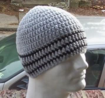 Hand Crochet ~ Men's Skull Cap Beanie Hat Gray/Black One Size Chemo