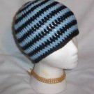 Hand Crochet ~ Sweet Skater Beanies Stripes Light Blue Black