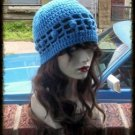 Hand Crochet ~ Ladies Skull Cap ~ Blue  Bobbles Summer Mesh Chemo