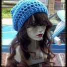 Hand Crochet Summer Slouchy Hat - Blue Beach Vacation Cruise