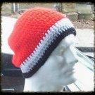 Hand Crochet Mens Slouchy Beanie Hat Skater Emo Goth Red Gray Black White Stripe