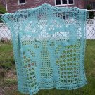 Hand Crochet Sage Celtic Cross Lace Panel Blanket Bed Cover Wall Hanging