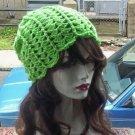 Hand Crochet Ladies Skull Cap Hot Lime Slouchy Flower Petal Beanie Chemo Summer