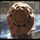 Hand Crochet Oversized Beret Rasta Snood Tam - Chocolate - Flower Motif
