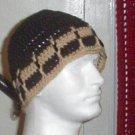 Hand Crochet Men's Skull Cap Beanie Hat Zac Brown Band - Black and Tan