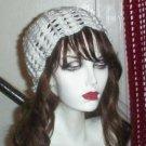 Hand Crochet ~ Ladies Skull Cap Slouchy White Flower Petal Beanie Chemo Summer
