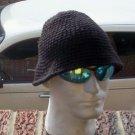 Hand Crochet Men's Skull Cap Beanie Hat Black Bucket Style