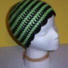 Hand Crochet ~ Ladies Skull Cap ~ Goth Lime and Black Beanie Gothic Lolita Vixen