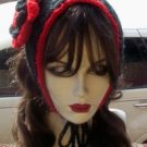 Hand Knit Flowered Coif Ponytail Hat- Gothic Red Black Convertible Ear warmer