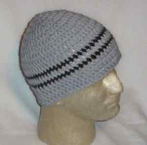 Hand Crochet ~ Men's Skull Cap Beanie Hat - Gray Striped Zac Brown