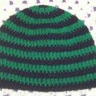 Hand Crochet - Mens Skull Cap Beanie Hat Skater Emo Goth - Green Black Stripe